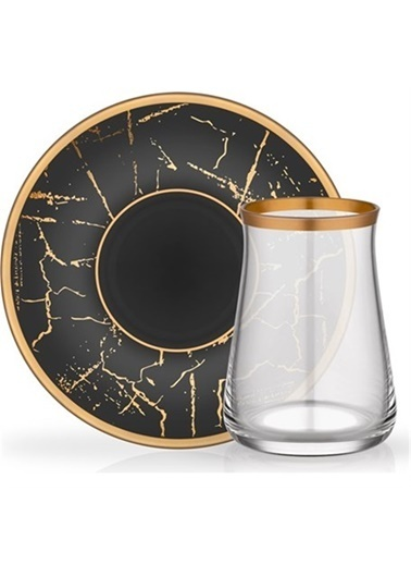 Glore Tarabya Çay Seti 6'Lı Siyah Mermer Renkli